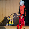 St. Leo's students Gianna Macchione as Flounder, Sarah Whittier as Sebastian, and Tegan Young as Scuttle during a dress rehearsal for The Little Mermaid at the school in Leominster on Wednesday afternoon. Two showings of the musical will be held this weekend, on both Friday and Saturday at 7 pm. SENTINEL & ENTERPRISE / Ashley Green