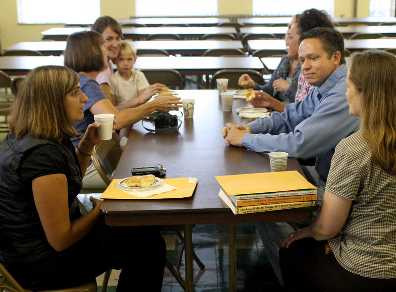 """E.L. Hubbard Photography<br /> Some of the parents of kindergarteners partake in the """"Boo-hoo"""" breakfast at St. Joseph."""