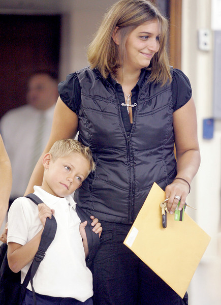 E.L. Hubbard Photography<br /> Meredith Meier drops off her son, Landyn Vidourek, for his first day of kindergarten at St. Joseph.