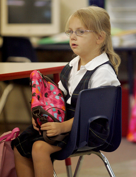 E.L. Hubbard Photography<br /> Kindergarten student Caroline Middendorf is prepared for her first day of school in Tessa Crooke's class at St. Joseph.