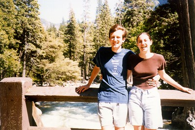 Audrey and me on a bridge below Yosemite Falls