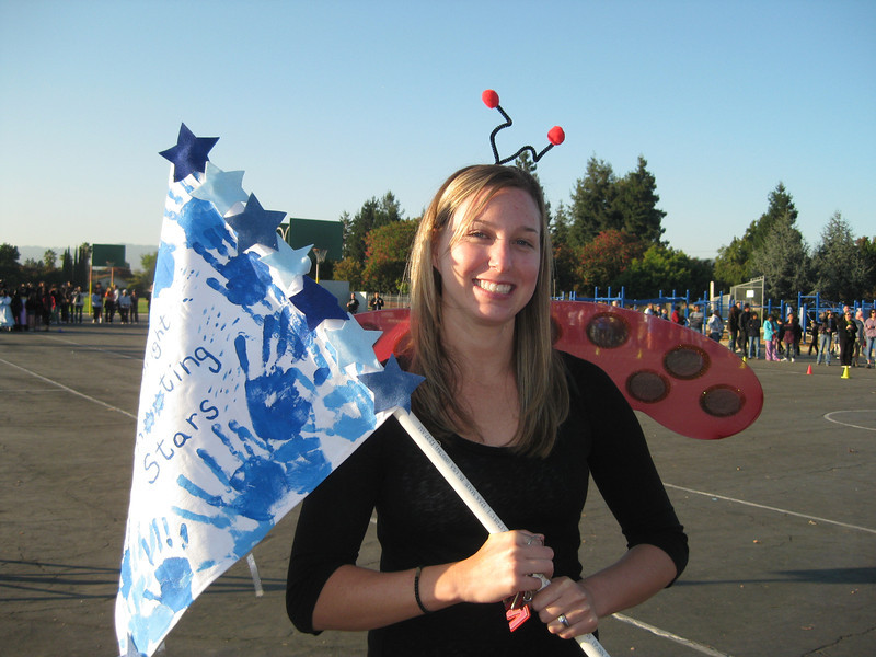 Mrs. Maisen with the class flag
