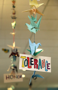 Students at the Stoklosa Middle School made over 1,000 paper cranes in an art project, with each student making at least one, to promote peace and other wishes.  (SUN/Julia Malakie)
