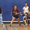 Stoklosa Middle School Summer Program. From left, Jenny Nguyen, 10, Angelina Gilpin, 13, Darren Cheang, 10, Brianna DiCato, 13, and Erin Nji, 11, all of Lowell, play Capture the Flag. (SUN/Julia Malakie)