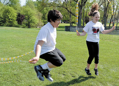 Mary Grzebieniak/NEWS<br /> Fifth graders Anthony Cumo and Chelsea Off enjoyed jumping rope as part of the activities.