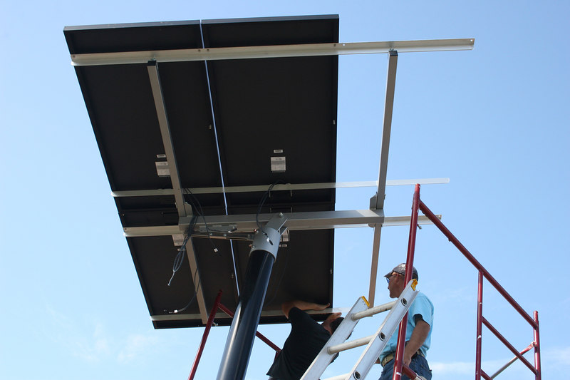 Attaching the panels didn't take long, but the contractors also had to install recording devices.