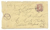 Letter mailed 1871 October 24th from Ayton Ontario to Orchard, Ontario seeking teaching position by Daniel Drimmit. Envelope, letter and references from school trustees. Envelope front. 3 cent stamp