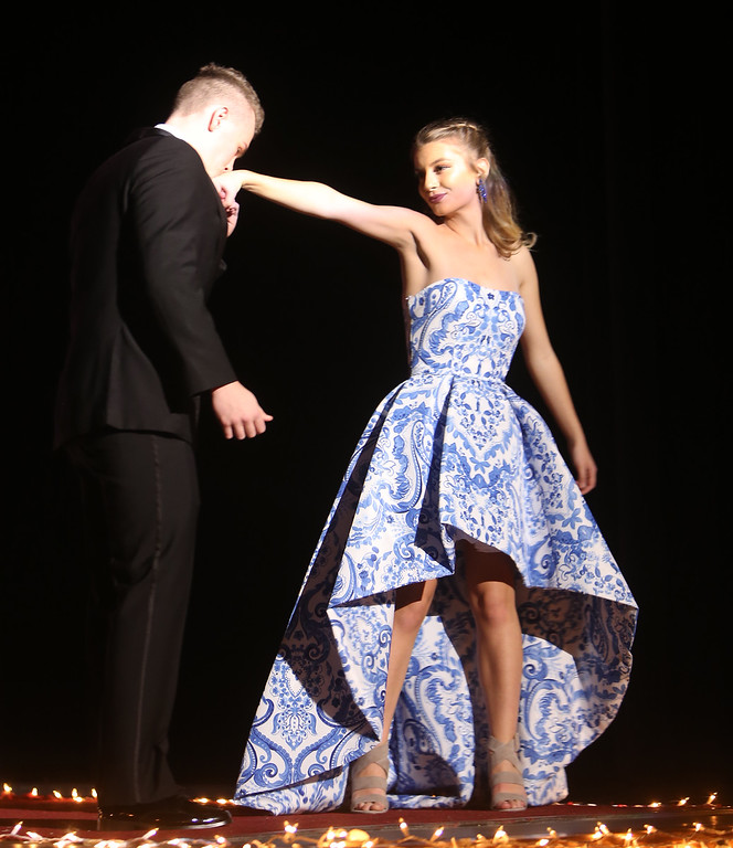 . Christian Erbetta and Alison Pellegrino in Tewksbury Memorial High School DECA\'s annual fashion show, to benefit the Meghan McCarthy Research Fund for reseach on pediatric brain tumors.  (SUN/Julia Malakie)