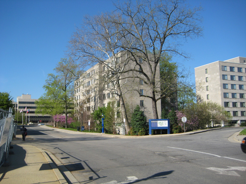 Entering campus, Hughes hall on the right.