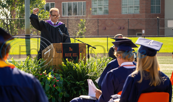 Rod Flectcher, Head of Brook Hill School, welcomes the graduating class  to 2020 Commencement.