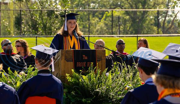 Rachel Berkley delivers valedictory address during Brook Hill School's 2020 Commencement.