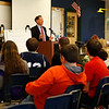 Holly Pelczynski - Bennington Banner Tom Barry, a representative for Senator Patrick Leahey visits students at Mount Anthony Union Middle School on Thursday to discuss PFOA.