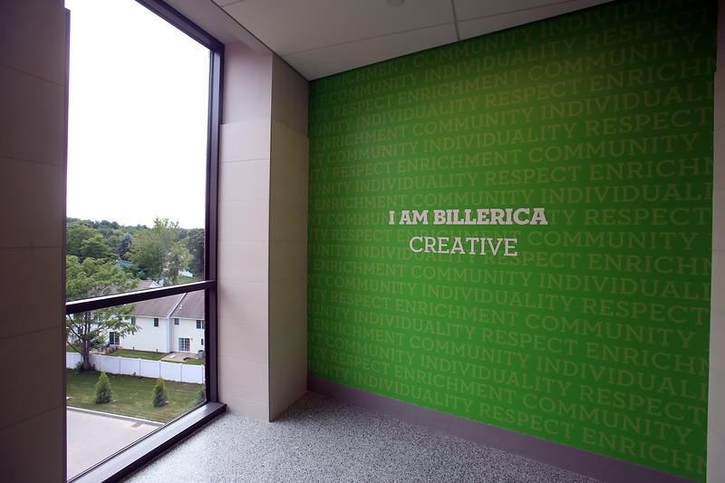 Each floor has its own shade of green at the new Billerica Memorial High School. (SUN/Julia Malakie)