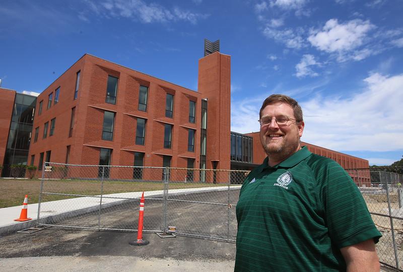 Superintendent Tim Piwowar gives a tour of the new Billerica Memorial High School. (SUN/Julia Malakie)