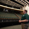 Superintendent Tim Piwowar gives a tour of the new Billerica Memorial High School. This is his favorite spot, on the stage of the 900-seat auditorium. (SUN/Julia Malakie)