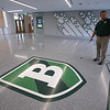 Superintendent Tim Piwowar gives a tour of the new Billerica Memorial High School. A map of Billerica that makes up the main lobby floor. (SUN/Julia Malakie)