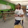 Rene Hester of Nashua, who teaches biology, anatomy, biotechnology, and AP biology, was arranging desks and chairs in her classroom at the new Billerica Memorial High School. (SUN/Julia Malakie)