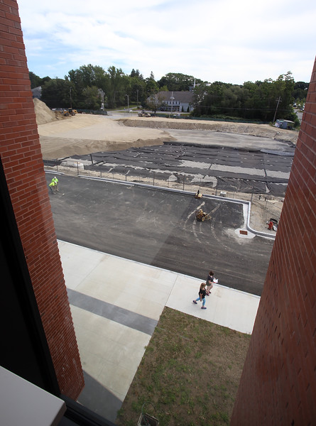 Tour of the new Billerica Memorial High School. View out over the main entrance. At rear will be a secondary turf field. (SUN/Julia Malakie)
