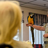 Education coordinators Sarah Buttermore and Kate Albertini, for Southwick's Zoo, display some of their animals to the residents of Pine Heights in Brattleboro on Wednesday, May 18, 2016. Kristopher Radder / Reformer Staff