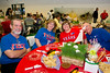 Gene and Peggie Martin, Lyricia and Gary Squyres show their Texas Rangers spirit at the baseball themed dinner.