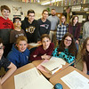 Tyngsboro Knowledge Bowl team. Left to right, front: Joshua Gauvin, 13, Campbell Wood, 12, Ryan Kaminski, 12, Madeline Menaker, 13, and Emily Caissie, 12. Rear: Ryan Graham, 12, Mohammed Aldulaimy, 13, Nate Marino, 14, Brett Cavanaugh, 15,  coach Ciaran Pendergast, Liliane Wood, 12, Makayla Hughes, 12, and Evianna Young, 12.  (SUN/Julia Malakie)