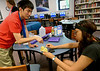 Bob Raines--Montgomery Media / <br /> STEAM project students Michael Deng and Jordan Burgh experiment with the possibilities for soft circuits using a putty-like conduction medium  May 27, 2015.