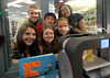 Bob Raines--Montgomery Media / <br /> As a 3-D printer turns out a bust of Benjamin Franklin the six STEAM project students pose on the other side of the window:front l-r, Eleanor Simpson, Abby Grossman, Candice Ionescu; rear l-r, Lucile Ionescu, Michael Deng and Jordan Burgh.Candice Ionescu try out an app that adds creativity to selfies  May 27, 2015.