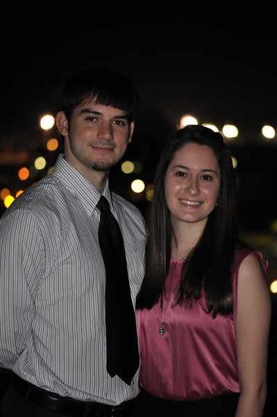 Anthony Alpha and his girlfriend Emily pose above Bayou Desiard.