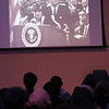 Lowell Center for Space Science and Technology at UML, and the John F. Kennedy Library Foundation celebrate the 50th anniversary of the Apollo 11 moon landing. Audience watch excerpt of Kennedy speech in Texas about space exploration. (SUN/Julia Malakie)