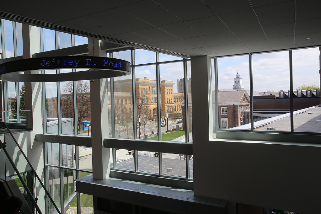 . View of University Ave from second floor of the Pulichino Tong Business Center, new home of the Manning School of Business at UMass Lowell. (SUN/Julia Malakie)