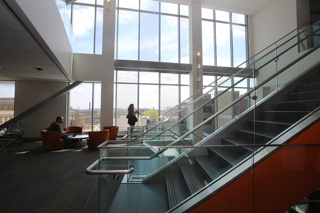 . Second floor commons space at the Pulichino Tong Business Center, new home of the Manning School of Business at UMass Lowell. (SUN/Julia Malakie)