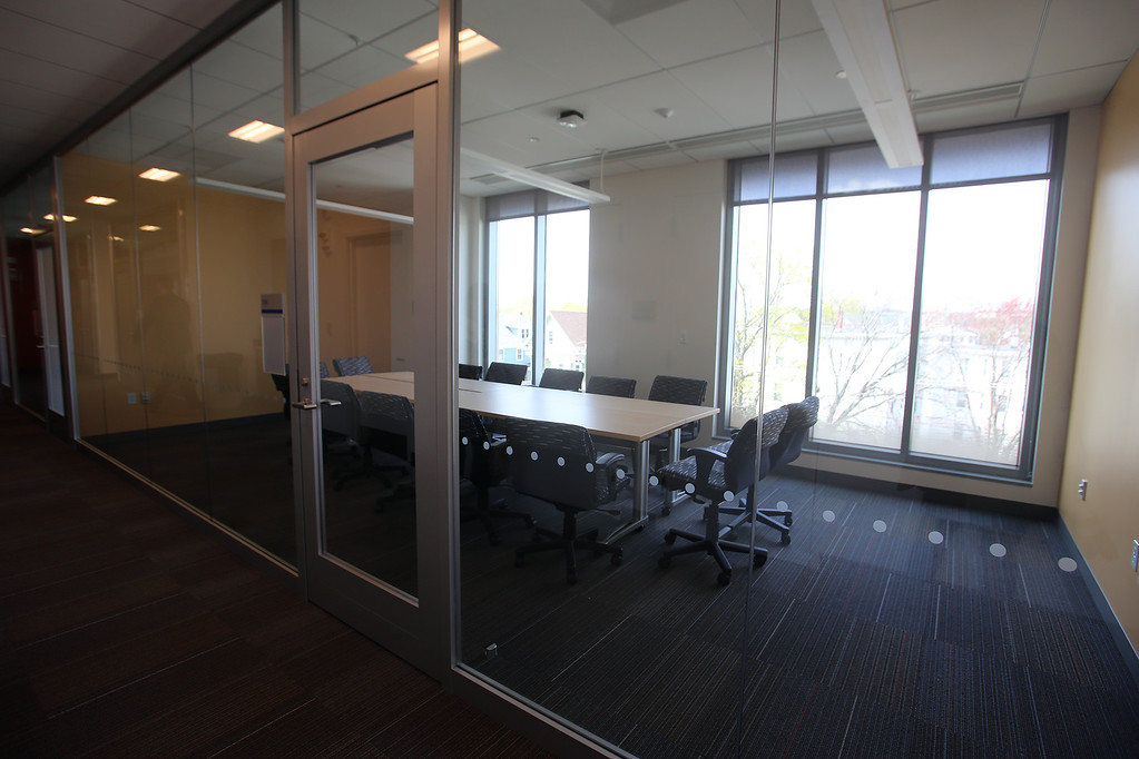 . Collaboration space at the Pulichino Tong Business Center, new home of the Manning School of Business at UMass Lowell. (SUN/Julia Malakie)