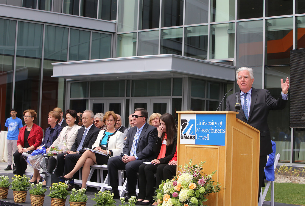 . Former UML chancellor and current UMass president speaks at ribbon cutting ceremony for the Pulichino Tong Business Center, new home of the Manning School of Business at UMass Lowell. (SUN/Julia Malakie)