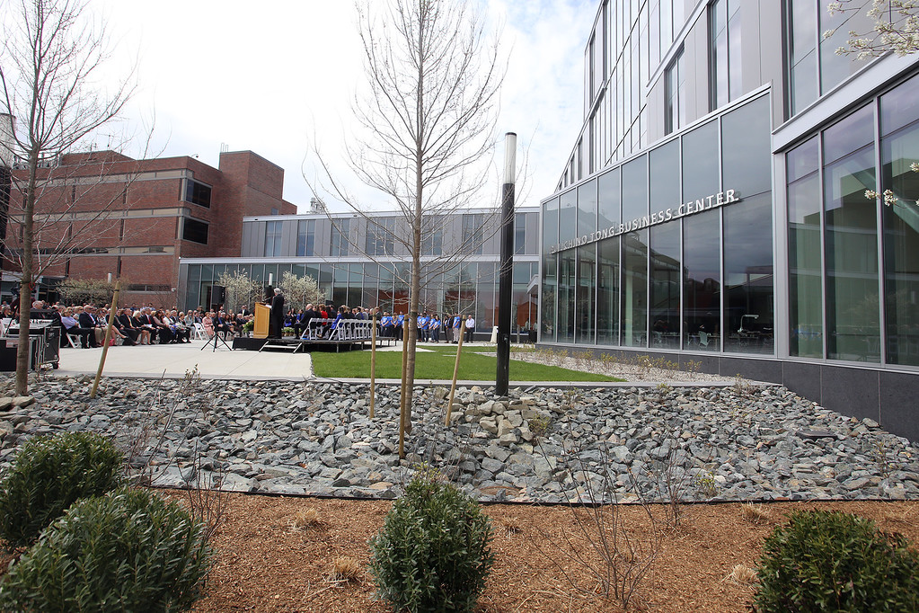 . Ribbon cutting ceremony for the Pulichino Tong Business Center, new home of the Manning School of Business at UMass Lowell. (SUN/Julia Malakie)