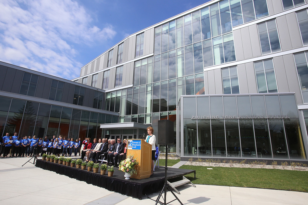 . Chancellor Jacquie Moloney speaks at ribbon cutting ceremony for the Pulichino Tong Business Center, new home of the Manning School of Business at UMass Lowell. (SUN/Julia Malakie)