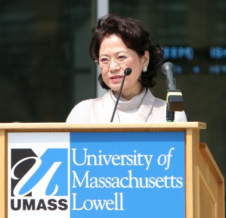 . Ribbon cutting ceremony for the Pulichino Tong Business Center, new home of the Manning School of Business at UMass Lowell. Donor Joy Tong speaks about how race and gender are still barriers in business. (SUN/Julia Malakie)