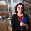 UMass Lowell graduating senior Edina Hart of Lowell, at the Health and Social Sciences building.  (SUN/Julia Malakie)