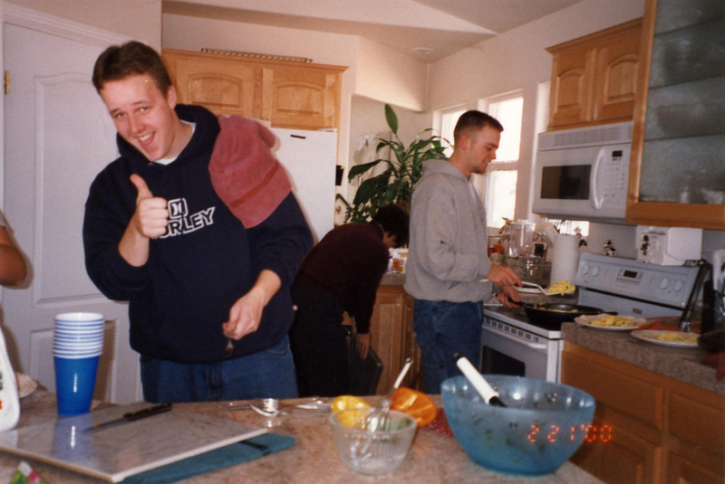 The boys cook breakfast and do dishes?  Do they have us trained or what?