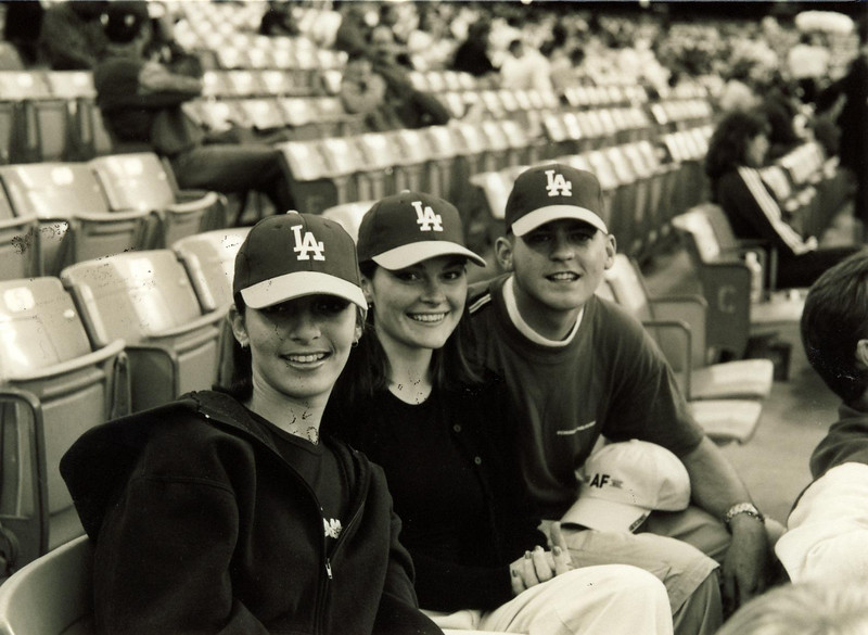 One of many Dodger game nights.  This happened to be free hat night.  Mary, Kate and I pose with our new toys!