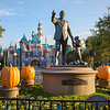 """A SPARKLING SEASON (ANAHEIM, Calif.) - Jack-o'-lanterns representing each themed land in Disneyland park surround the iconic """"Partners"""" statue during Halloween Time at the Disneyland Resort, which runs from Sept. 11 through Nov. 1, 2015. The Diamond Celebration continues during the Halloween season with dazzling entertainment and decor, in addition to the return of Haunted Mansion Holiday and Space Mountain Ghost Galaxy. This year, the family-friendly Mickey's Halloween Party expands to 17 nights at Disneyland park, where guests are invited to trick-or-treat in costume, celebrate with favorite Disney characters and enjoy special presentations of the """"Halloween Screams"""" fireworks spectacular and the all-new """"Paint the Night"""" parade. (Paul Hiffmeyer/Disneyland)"""