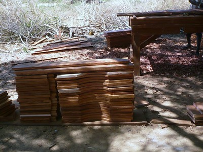 It took us two tries to get permission to cut mahogany to make termite-proof school furniture, but at last the milled boards arrived at Wunlang.