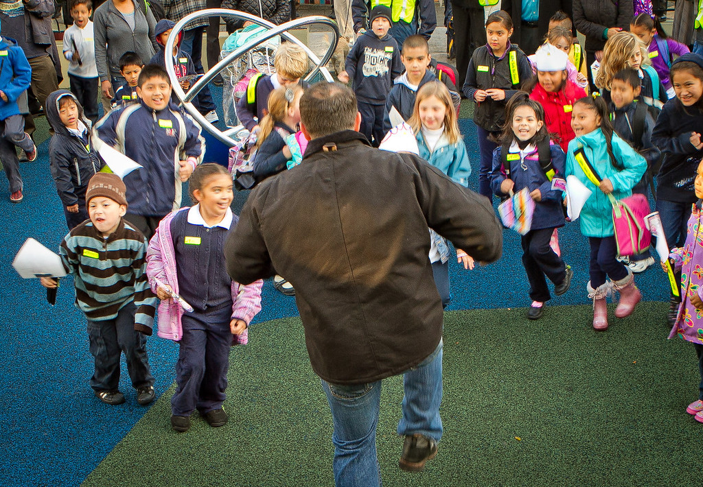 School kids do warm-up exercises in Kidpower Park  before walking to school on International Walk to School Day in San Francisco, Calif., on Wednesday, October 5, 2011.