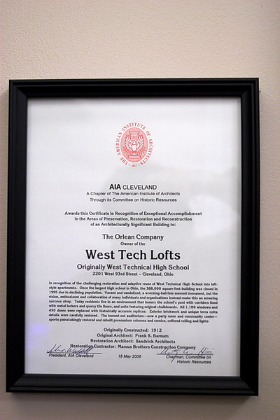 20070418_0956 - 0162 - West Tech Lofts<br /> Certificate of Recognition from Americal Institute of Architects