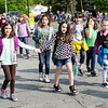 Students from  Meetinghouse and Westminster Elementary School participate in the Walk to School Day in Friday morning. SENTINEL & ENTERPRISE / Ashley Green