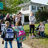 Parents gather to watch as students from Meetinghouse and Westminster Elementary School participate in the Walk to School Day in Friday morning. SENTINEL & ENTERPRISE / Ashley Green