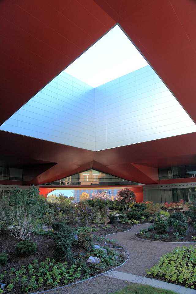 Garden beneath the overhang of the Millennium Science Building.  Vibration-sensitive equipment is located in rooms beneath the garden, which has soft surfaces that discourage pedestrians and cushion their footsteps.