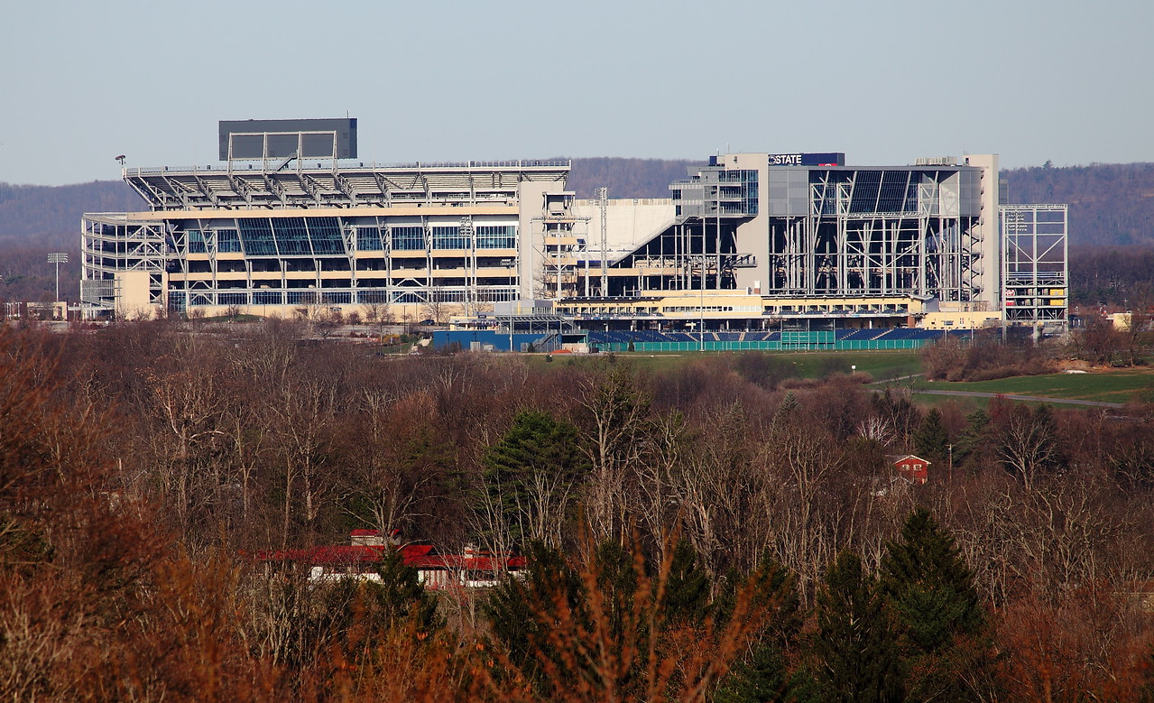 Beaver stadium, Penn State University.  It is often said that this becomes the 3rd largest city in PA on game day (110,000 fans).