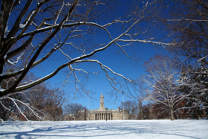 Home of the Blue & White.  Old Main as seen from College Avenue after a heavy sticky snow in March.  Penn State University, University Park.