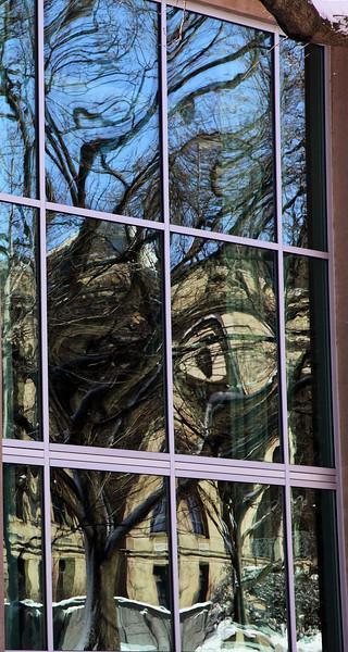 Winter reflections in the HUB windows, Penn State University