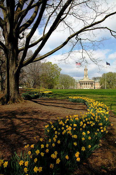 Old main lawn in spring, Penn State University